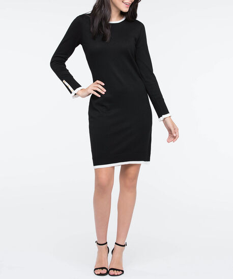 Long Sleeve Tipped Sweater Dress, Black/Pearl, hi-res