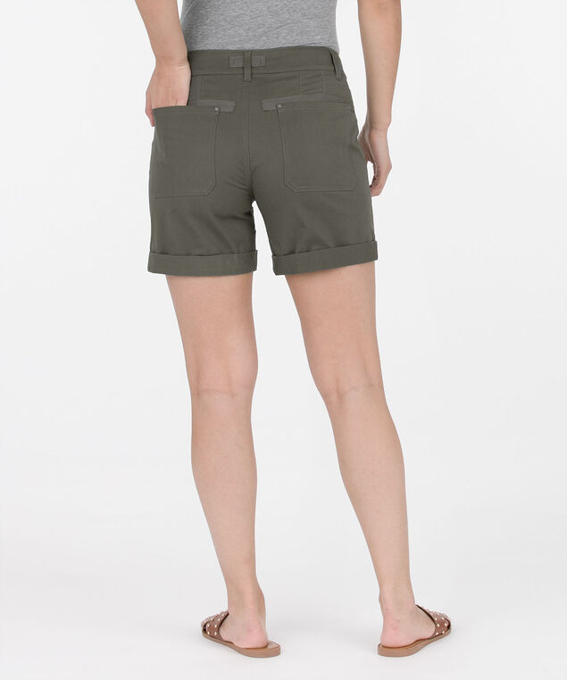 Cuffed Zipper Pocket Shorts, Olive, hi-res