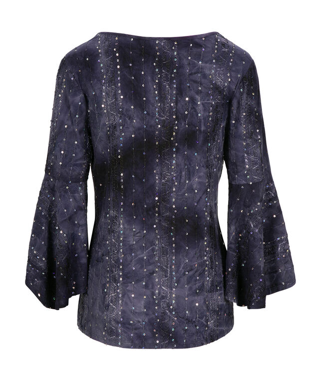 Flared Sleeve V-Neck Top, Navy, hi-res