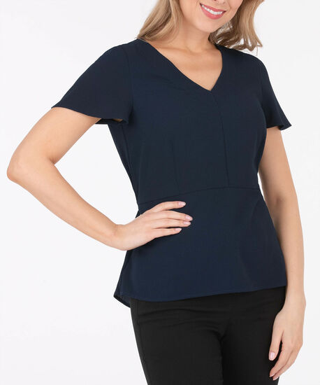 V-Neck Peplum Blouse, Summer Navy, hi-res
