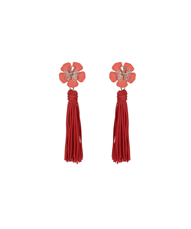 Flower & Tassel Earring, Coral/Clear/Gold, hi-res