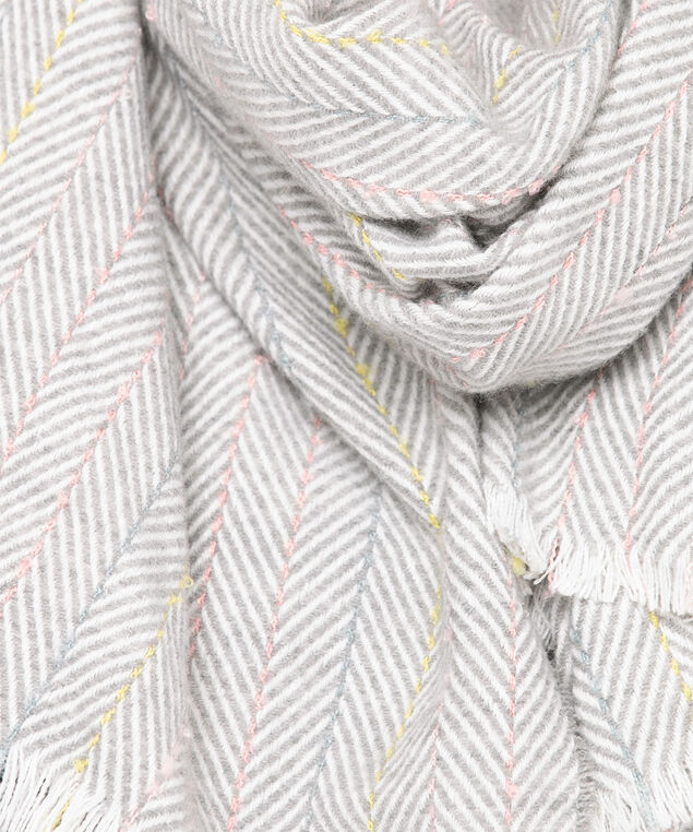 Grey Pastel Stripe Blanket Scarf, Grey/Ivory/Pink/Yellow