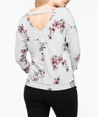 Double-V Cutout Back Knit Top, Heathered Grey/Rust/Black, hi-res