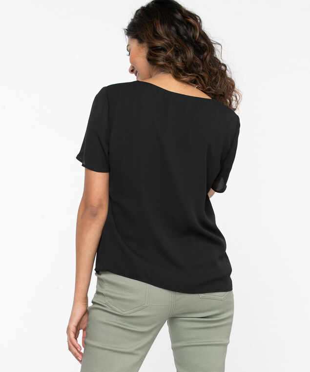 Short Sleeve V-Neck Blouse, Black