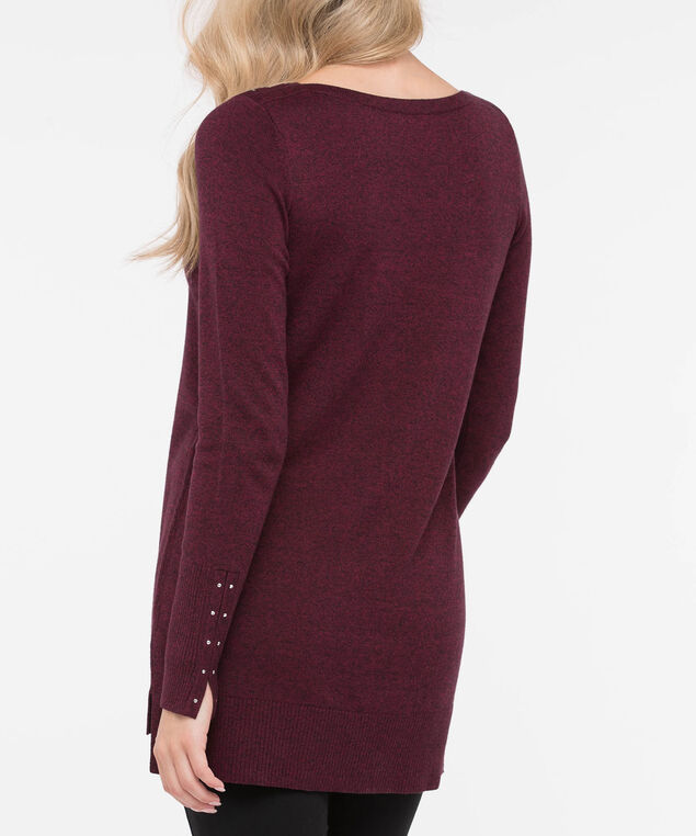 Stud Trim Step Hem Sweater, Burgundy, hi-res