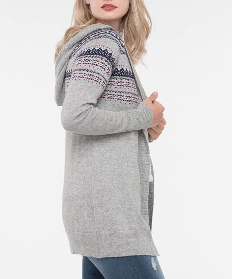 Fair Isle Hooded Cardigan Sweater, Light Heather Grey/True Navy/Soft Pink, hi-res