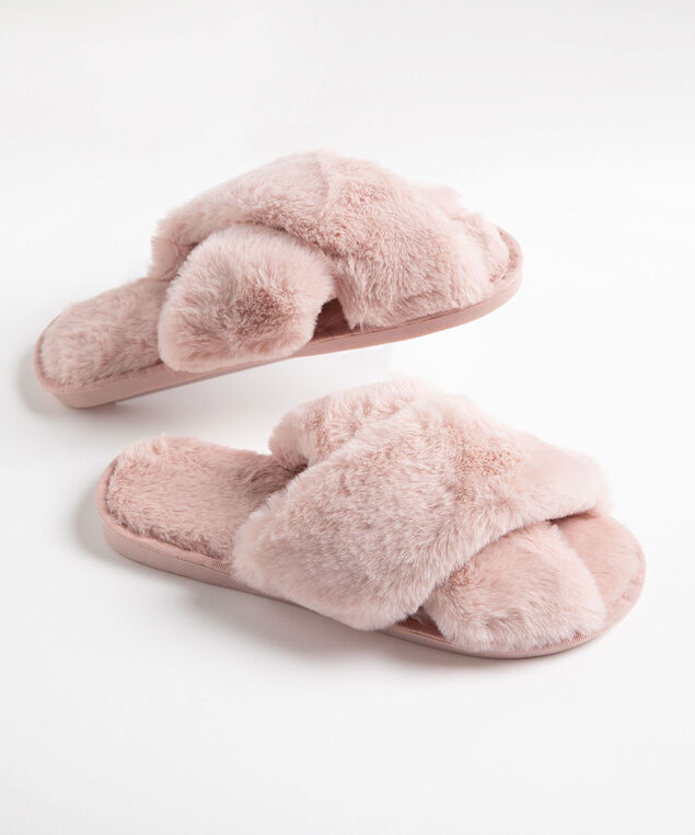 Criss Cross Fluffy Plush Slipper, Pink