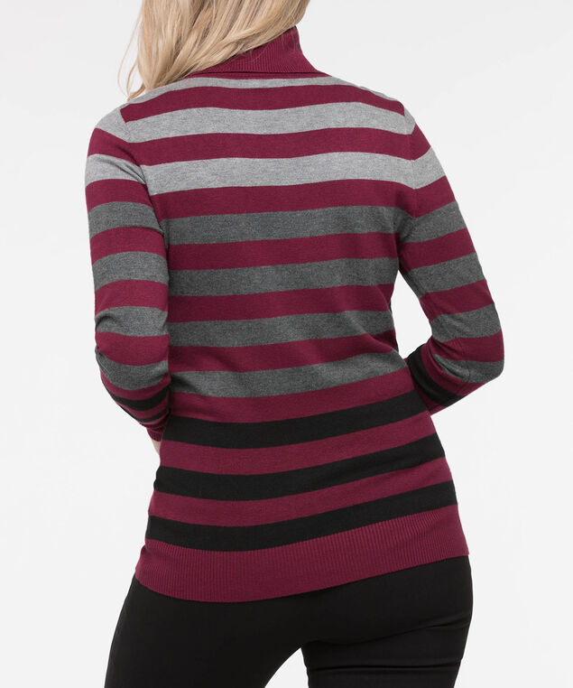Long Sleeve Turtleneck Sweater, Grey/Black/Burgundy, hi-res