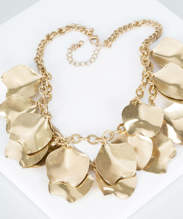 Brushed Gold Statement Necklace, Gold, hi-res