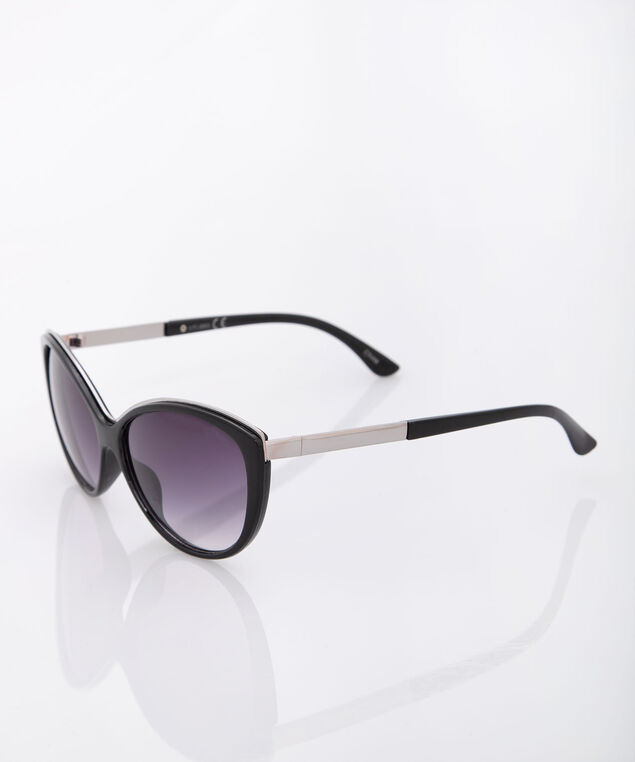 Brow Detail Cateye Sunglasses, Black, hi-res