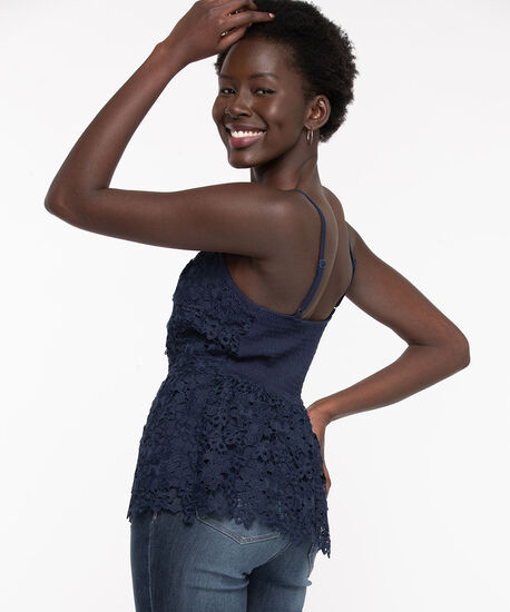 Navy Strappy Lace Peplum Top, Navy, hi-res