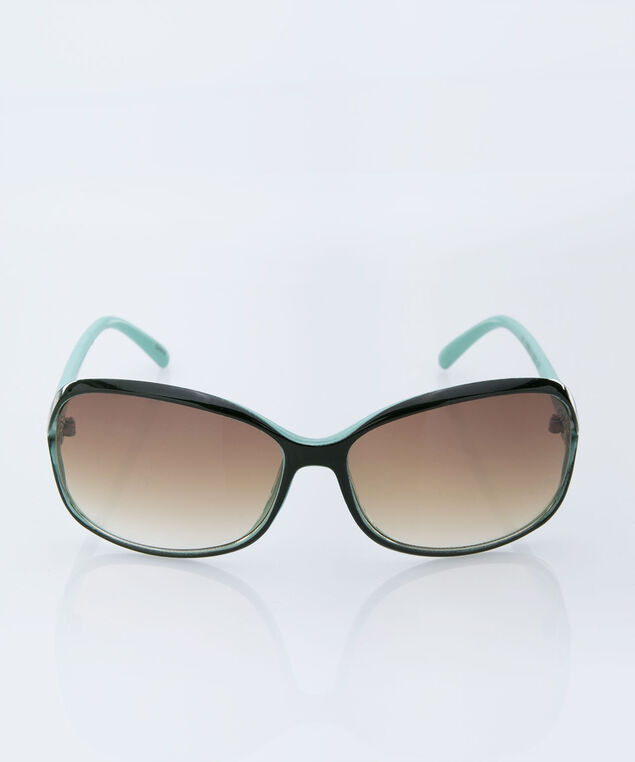 Open Frame Sunglasses, Black/Aqua, hi-res