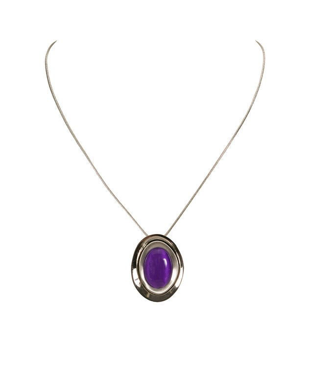 Double Disc Cateye Necklace, Grape/Rhodium, hi-res