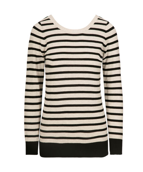 Lace-Up Back Pullover Sweater, Black/Pearl, hi-res