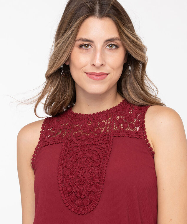Sleeveless Crochet Yoke Blouse, Paprika, hi-res