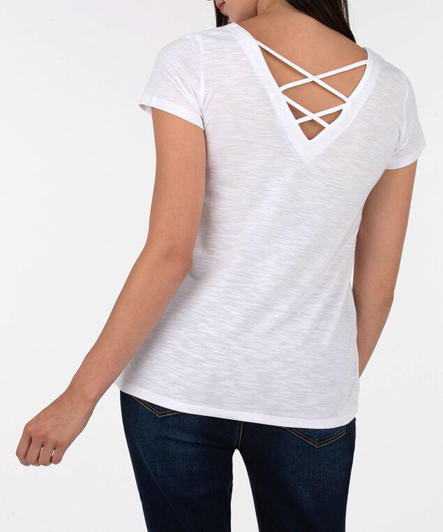 Scoop Neck Cross Back Top, Pearl, hi-res
