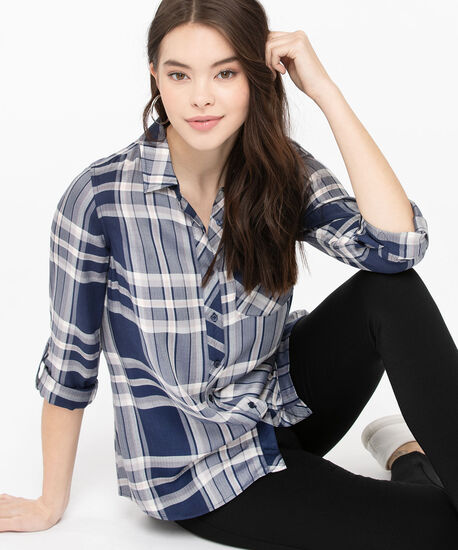 Plaid Button Front Collared Shirt, Summer Navy/Pearl/Rose Petal, hi-res