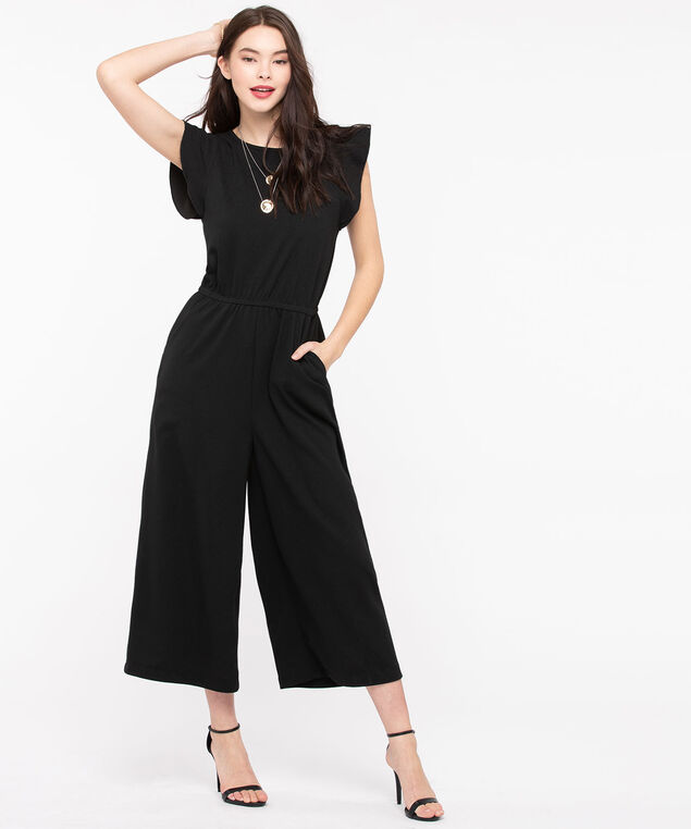 Flutter Sleeve Crossover Back Jumpsuit, Black, hi-res