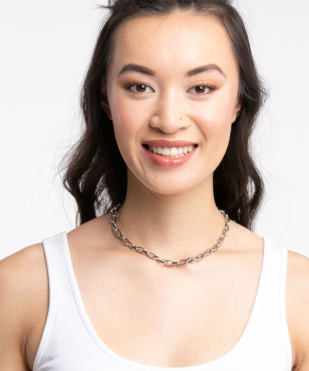 Mixed Metal Chain Link Necklace, Silver/Gold