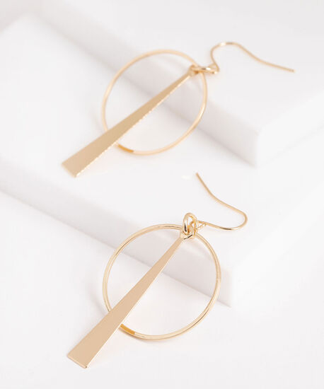 Linear Triangle & Hoop Earring, Gold, hi-res
