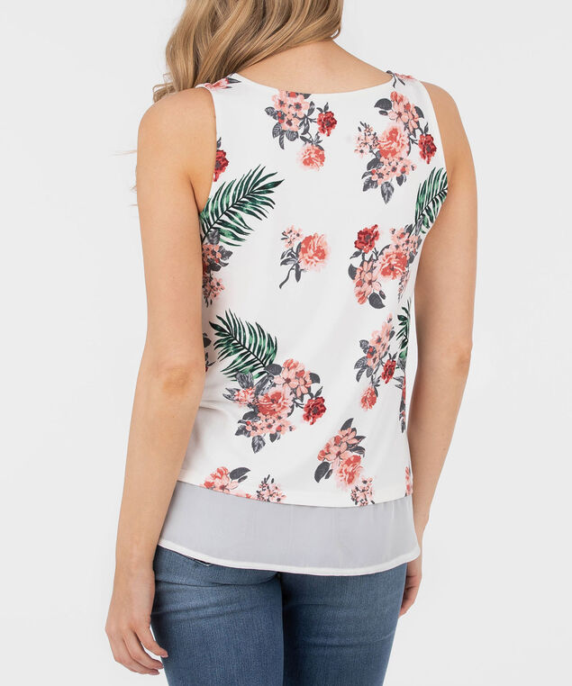 Sleeveless Floral Fooler Top, Pearl/Pink/Green, hi-res