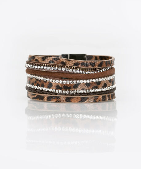 Leopard & Crystal Wrap Bracelet, Black/Almond, hi-res
