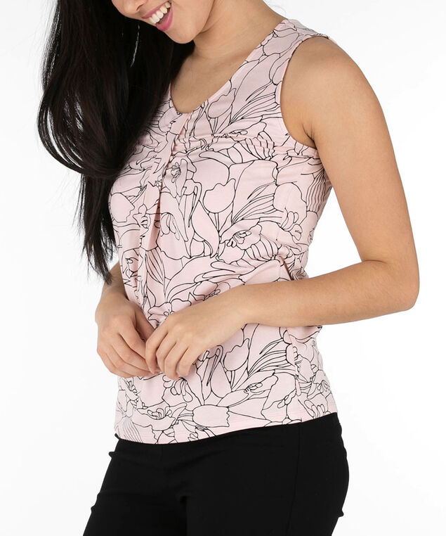 Sleeveless Tab Front Top, Fuzzy Peach/Black, hi-res