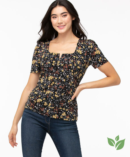 Eco-Friendly Puff Sleeve Top, Black/Yellow Ditsy Floral, hi-res