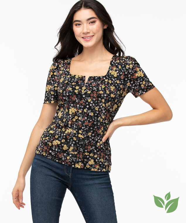 Eco-Friendly Puff Sleeve Top, Black/Yellow Ditsy Floral