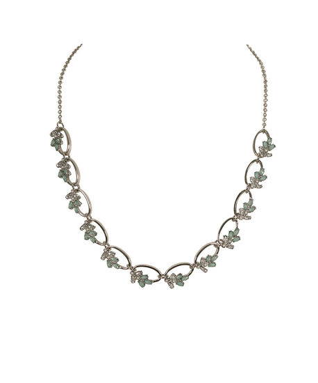 Crystal & Pearl Collar Necklace, Mint/White/Rhodium, hi-res