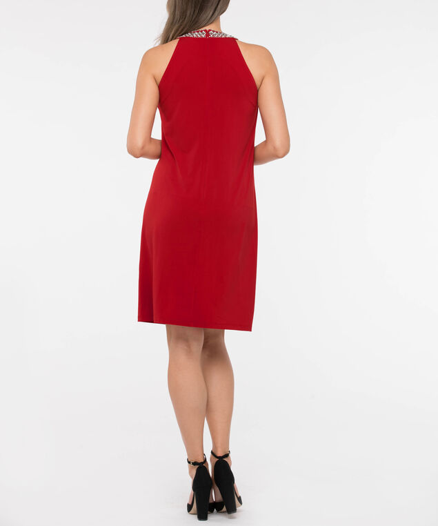 Beaded Pleat Neck Trapeze Dress, Crimson, hi-res