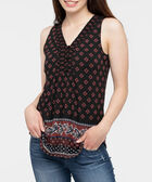 Sleeveless Smocked Neck Top, Black/Rust/Deep Sapphire, hi-res