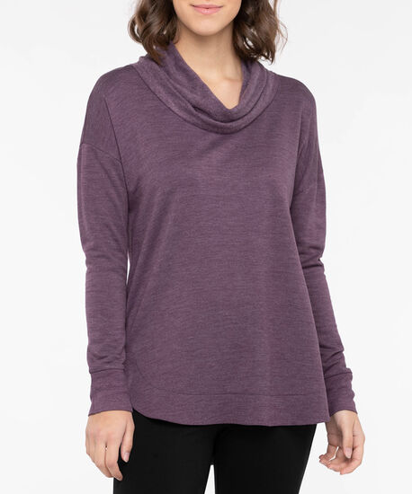 Long Sleeve Cowl Neck Knit Top, Plum, hi-res