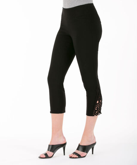 Crochet Trim Microtwill Capri, Black, hi-res