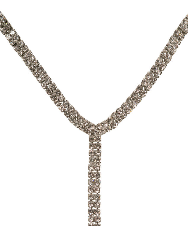 Pave Choker Y-Necklace, Clear/Rhodium, hi-res