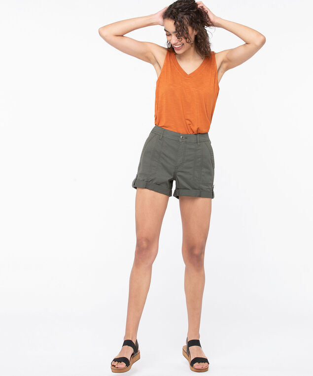 Roll Tab Poplin Short, Sage, hi-res