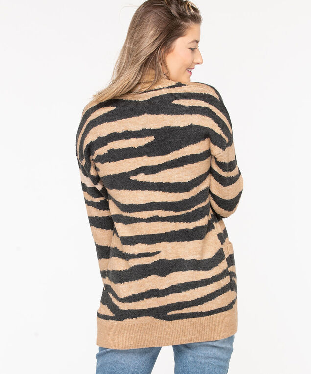 Zebra Pattern Open Cardigan, Black/Camel, hi-res