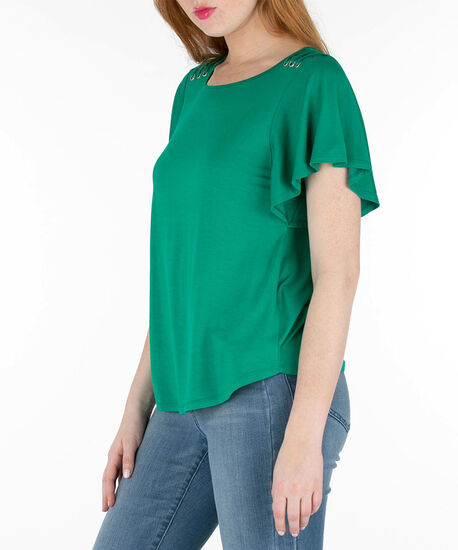 Flutter Sleeve Scoop Neck Top, Emerald, hi-res