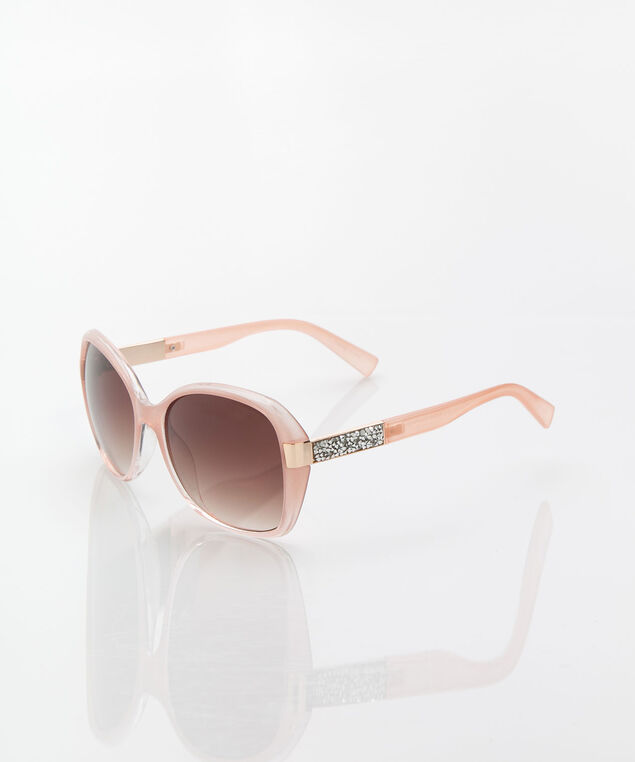 Crystal Detail Large Square Sunglasses, Blossom