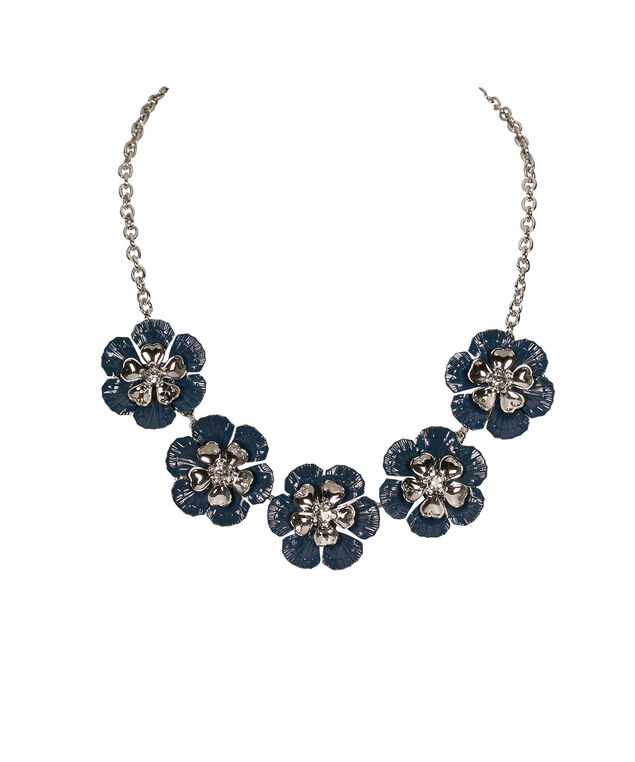 Painted Flower Statement Necklace, Mid Blue/Rhodium, hi-res