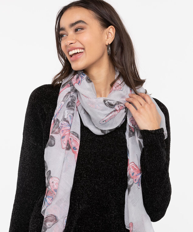 Soft Butterfly Print Oblong Scarf, Rose Petal/Azure/Grey, hi-res