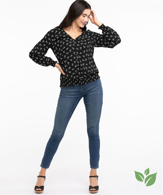 Eco-Friendly Smocked Button Front Blouse, Black Floral