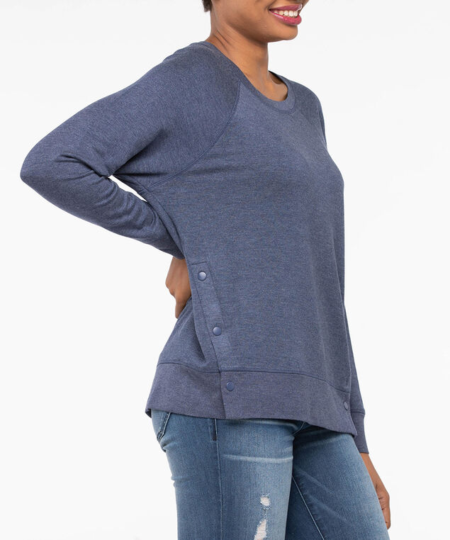 Snap Detail Long Sleeve Top, Inky Blue, hi-res
