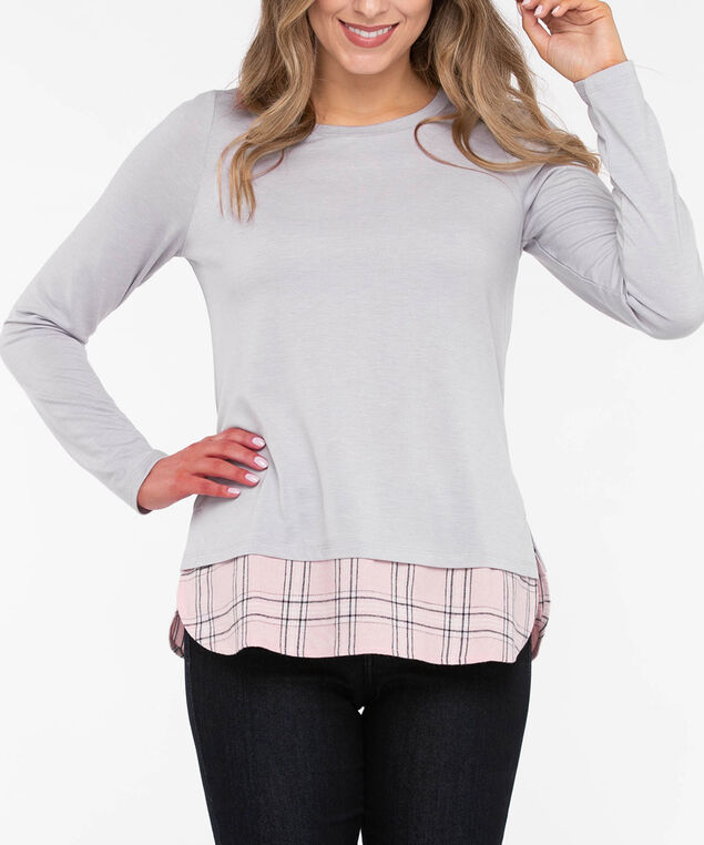 Long Sleeve Flannel Fooler Hem Top, Light Grey/Dusty Blush, hi-res