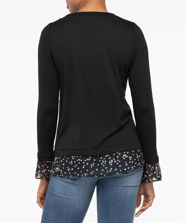 Long Sleeve Star Print Fooler Top, Black, hi-res