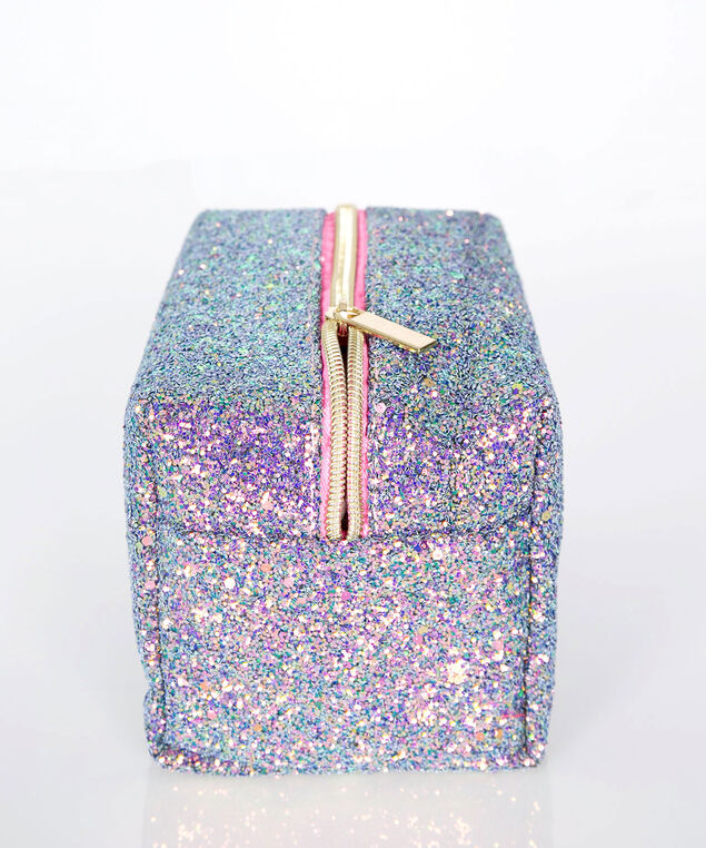 Glitter & Glam Cosmetic Bag, Pink/Blue/Yellow, hi-res