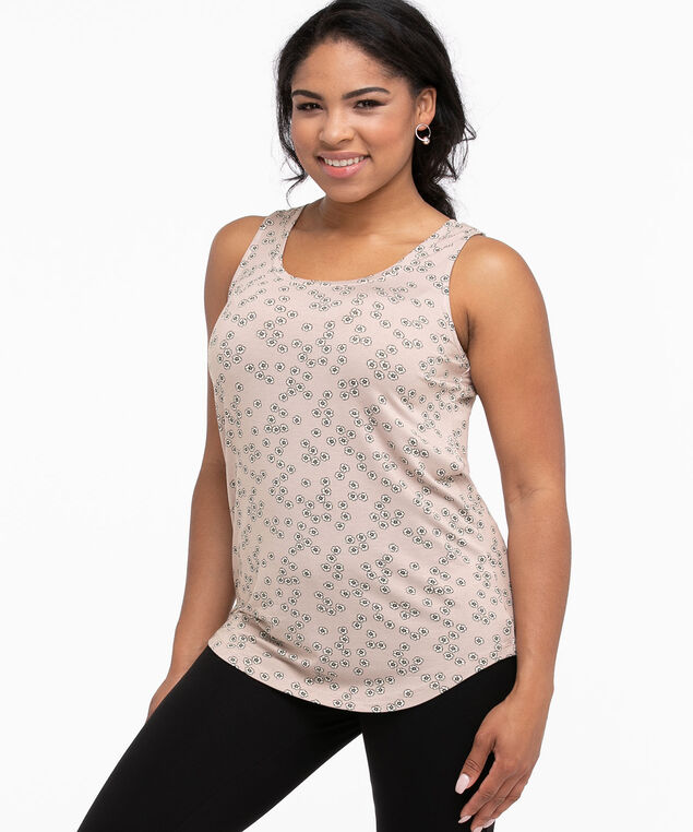 Scoop Neck Swing Tank, Mauve/White Ditsy Floral