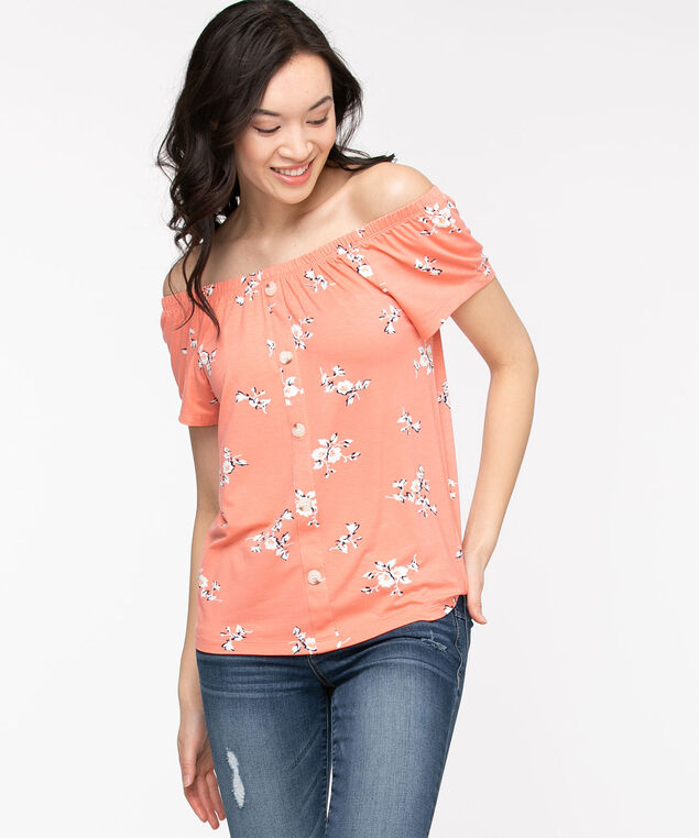 EcoVero™ On/Off Shoulder Top, Coral Reef Floral