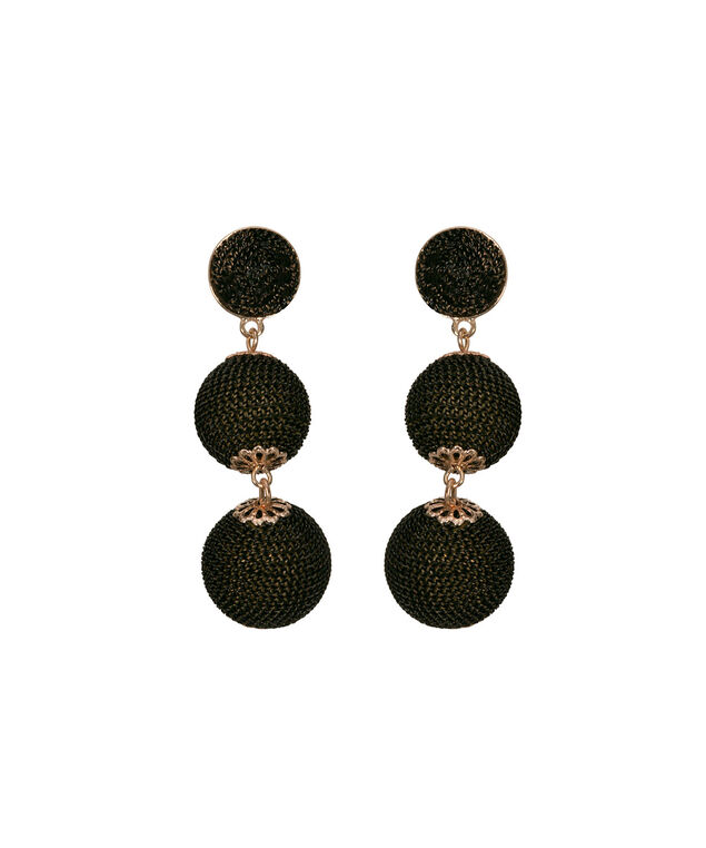 Chain-Wrapped Ball Drop Earring, Black/Rose Gold, hi-res