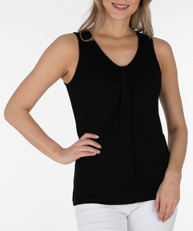 Sleeveless Tab Front Top, Black, hi-res